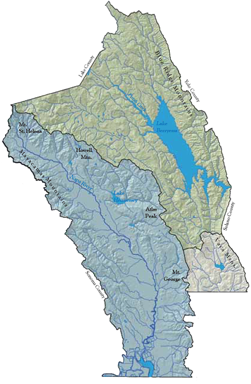 Napa watersheds map